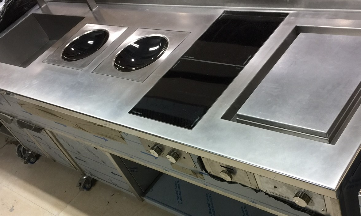 induction stove with woks